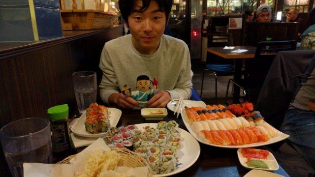トロントの若きジョッキー福元大輔が寿司を奢ってくれたの画像です