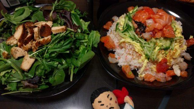 サラダとちらし寿司